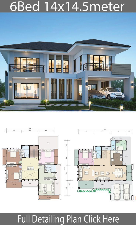 Haus Design Plan 14x14.5m mit 6 Schlafzimmern - # 14x145m #Architektur #Schlafzimmer #D ... #hausdesign