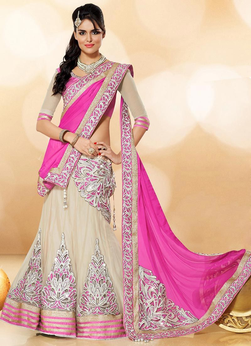 Buy Cream N Pink Net A Line Lehenga Choli online from the wide ...