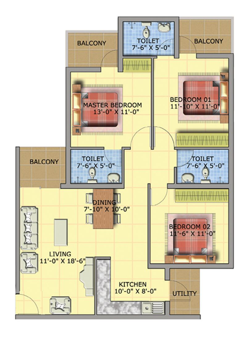 Decoration Ideas 3bhk Apartment For Sale In Faridabad