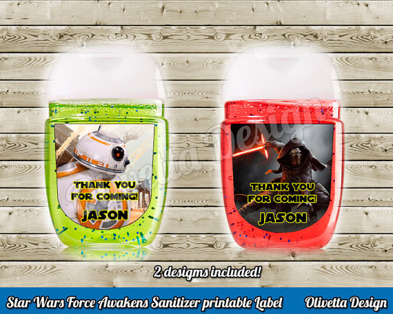 Star Wars Mini Hands Sanitizer New model Labels with name 4 Designs!  - Customized Digital File - Force Awakens Printable Party DIY