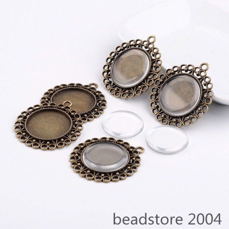6sets 25mm dome glass cabochons and antique bronze flower alloy 6sets 25mm dome glass cabochons and antique bronze flower alloy pendant settings unbranded aloadofball Gallery