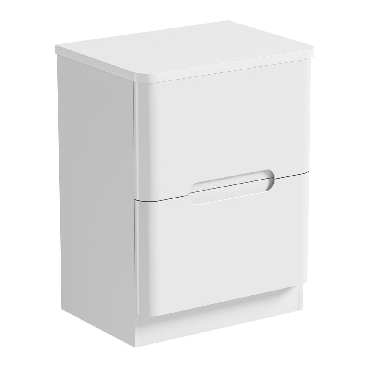 Mode Ellis white floorstanding vanity drawer unit and ...