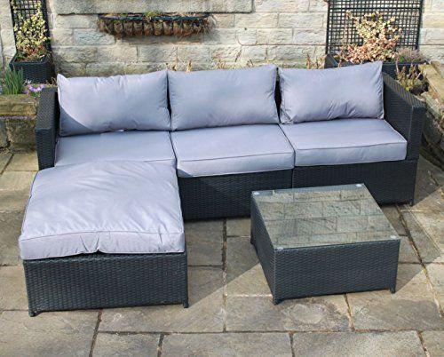Black Rattan 4 Seat Corner Sofa Set Garden Patio Furniture 195