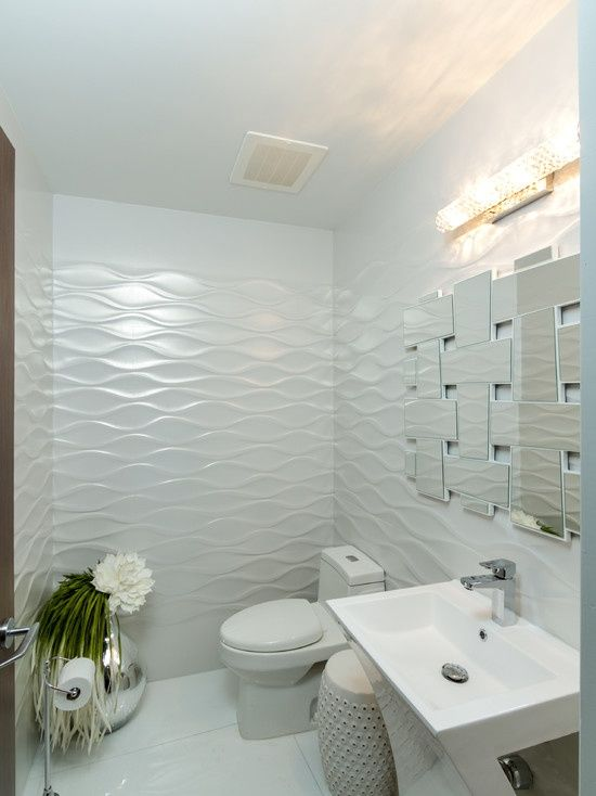 Modern Powder Room with Daltile Gallery White Ceramic Field Tile ...