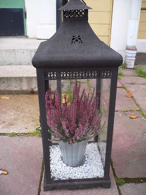 candle lantern with heather