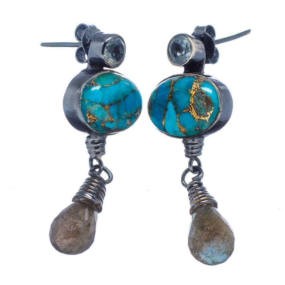 "Blue Copper Composite Turquoise, Labradorite, Blue Topaz 925 Sterling Silver Earrings 1 1/2"" EARR325604"
