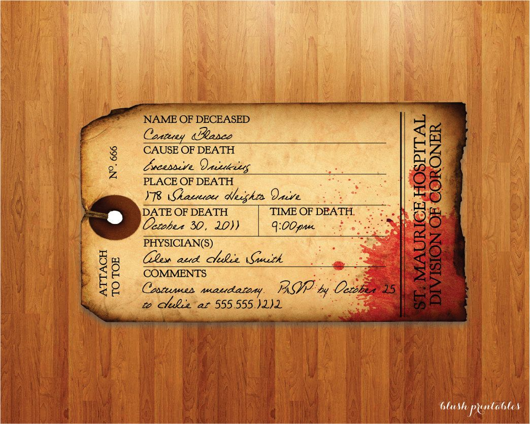 Antique Toe Tag - Morgue - Halloween Party Invitation. $15.00, via ...