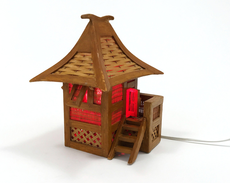 Vintage Tiki Hut Lamp Or Night Light Made In The Philippines Etsy In 2020 Vintage Tiki Tiki Hut Wooden Lamp