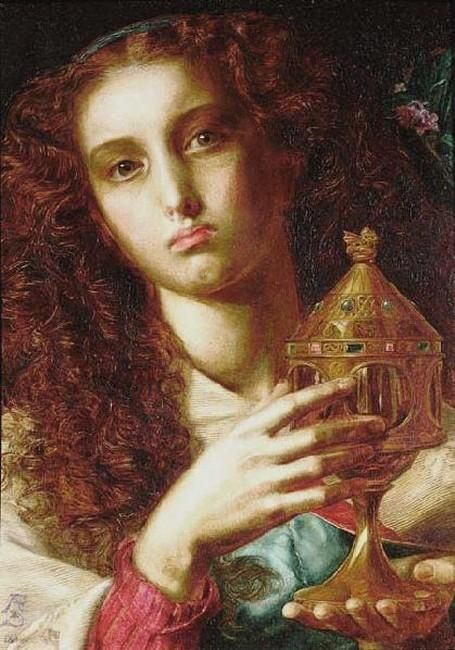 Anthony Frederick Sandys: King Pelles' Daughter bearing the Sancgraal (1861)