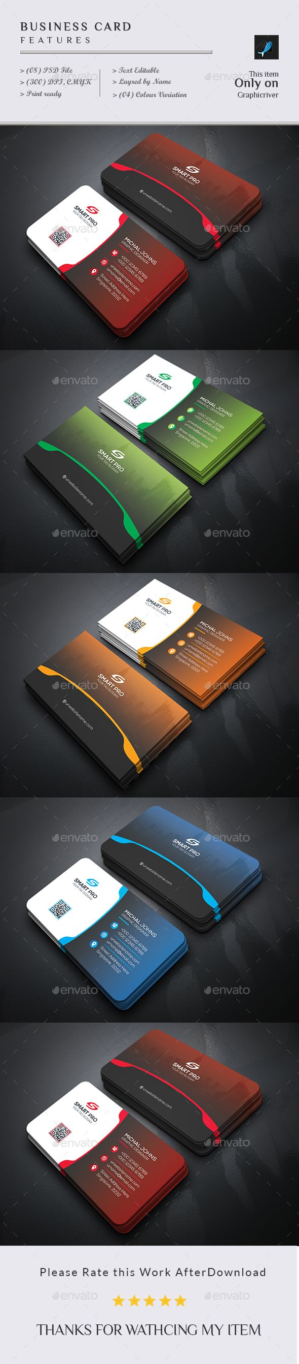 Business Card Design Template - Business Cards Print Templates PSD. Download here: https://graphicriver.net/item/business-card/19249374?ref=yinkira