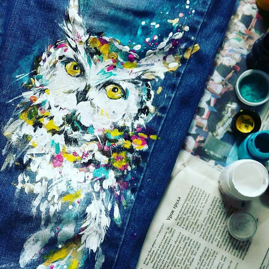 Картинки на джинсах акрилом по ткани