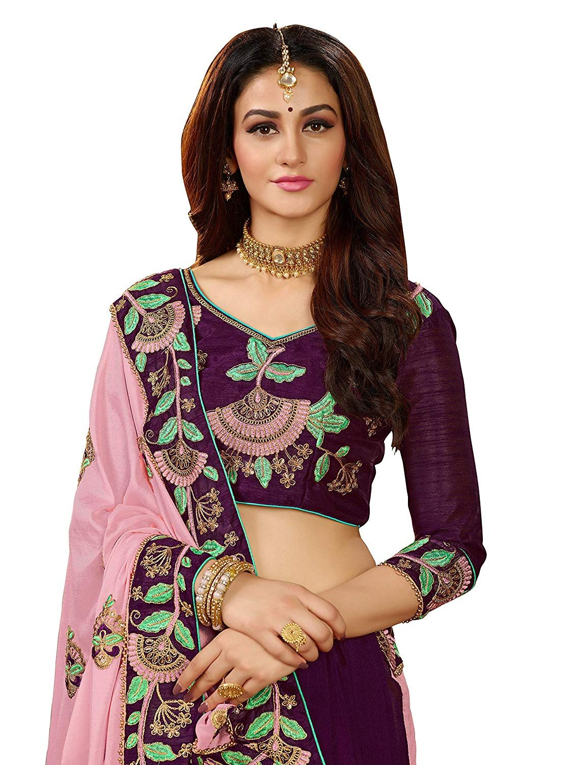 fe960aac86 Manohari Pink Silk Blends Embroidered Saree with Blouse: Amazon.in:  Clothing & Accessories