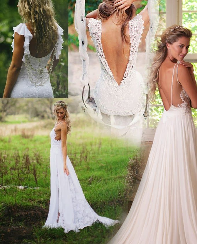 Bohemian wedding dress bride bridal party pinterest for Backless boho wedding dress
