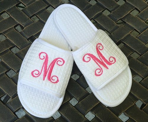 Monogrammed White Waffle Slippers Letter Perfect Weddings