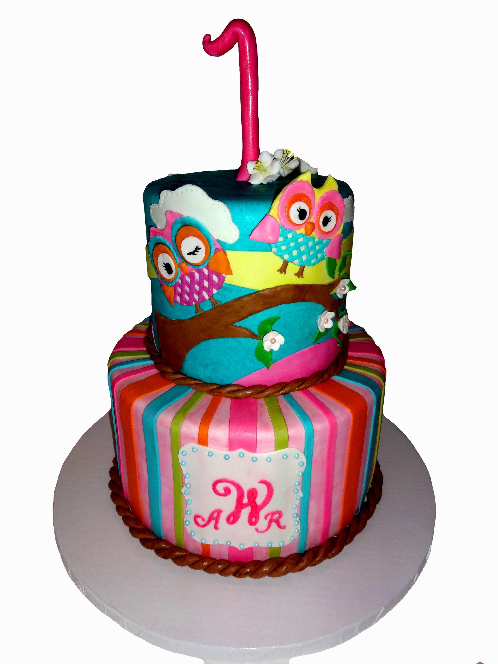 Owl 1st Birthday Cake Trishalicious Cakes Gainesville