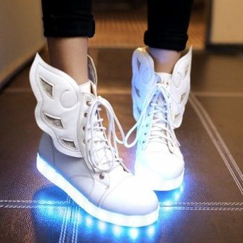 97ce0f035d75 Lace-Up Winged Led Luminous Boots