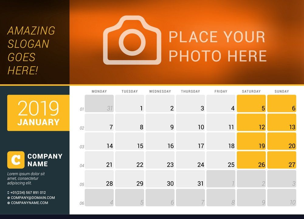 January 2019 Desk Calendar To Print Print calendar, Desk