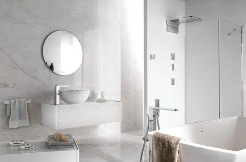 Porcelanosa Tiles Arabescato Modern Tile San Francisco White Marble Bathrooms Modern Bathroom Tile Tile Bathroom