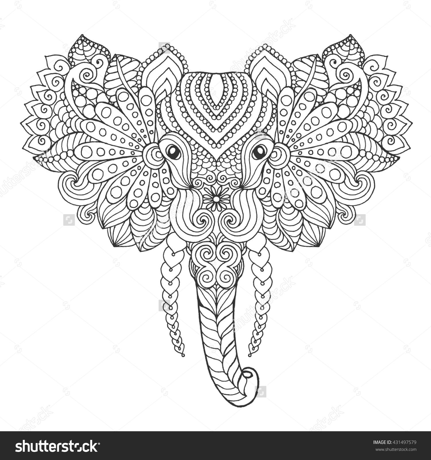 Elephant Head Adult Antistress Coloring Page Black White Hand Drawn Doodle Animal Ethnic