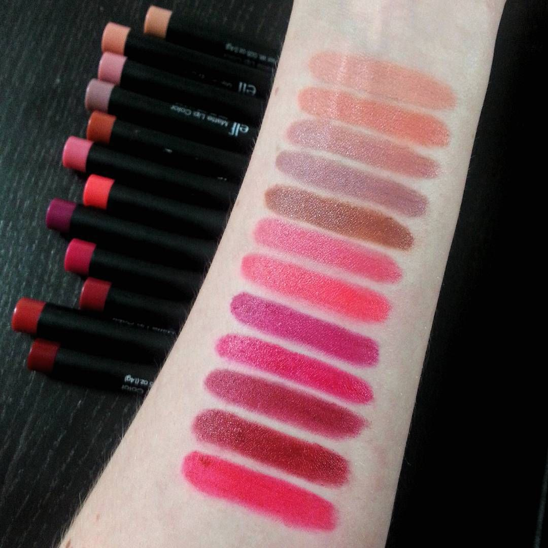 Swatches of all 12 shades of the ELF Cosmetics studio matte lip ...
