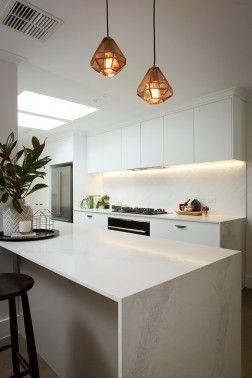 White Kitchen Marble white on white kitchen. marble looking benchtops. (caesarstone