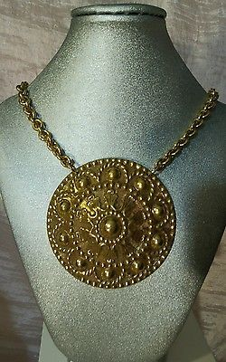 Vendome Signed Gold Medalion Necklace Vintage Adjustable Huge Designer Couture
