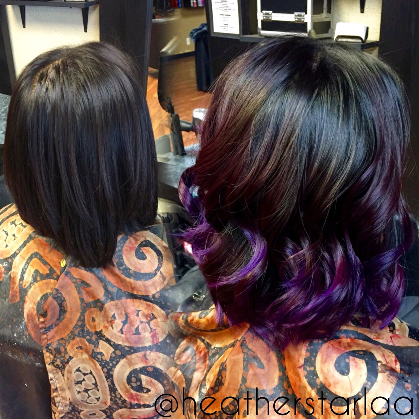 Dark Into Violet Purple Balayage Ombre On Short Hair Mom Hairstyles Hair Styles Hair