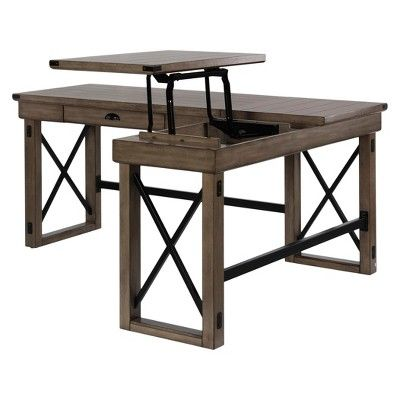 Tremendous Hathaway L Shaped Desk With Lift Top Rustic Gray Room Interior Design Ideas Jittwwsoteloinfo