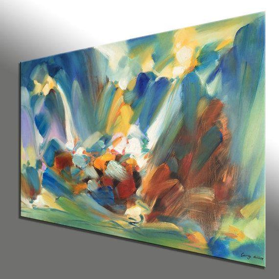 Pintura abstracta pintura al leo de grandes por - Pinturas acrilicas modernas ...