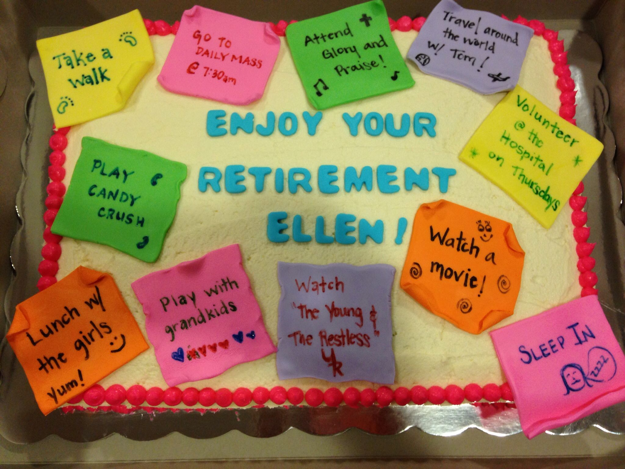 Retirement Cake Post It Notes Sheet Cake