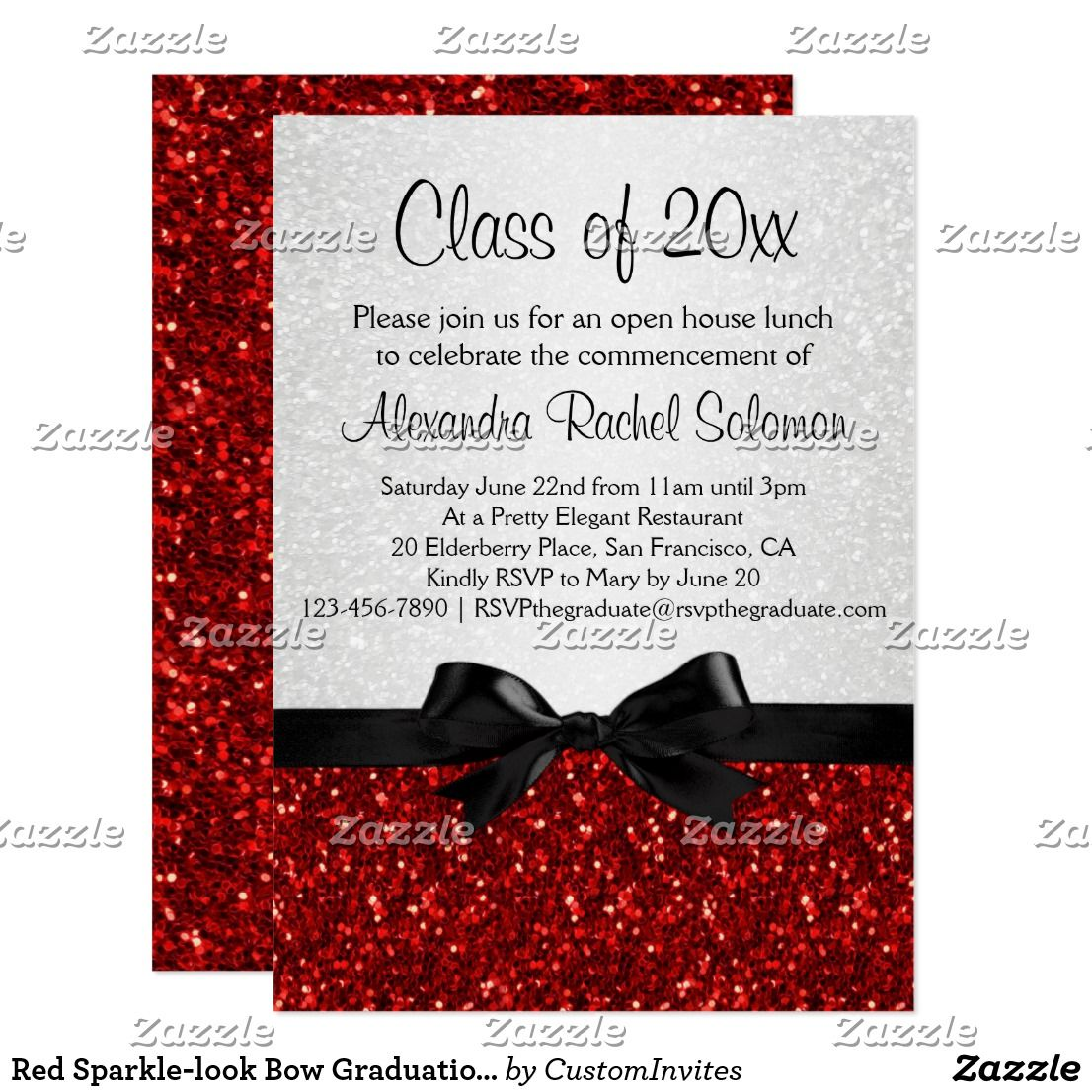 Red Sparkle-look Bow Graduation Invitation | Pinterest