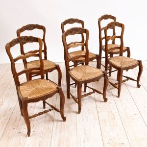 Set Of 6 French Provincial Dining Chairs In Walnut With Rush Seats