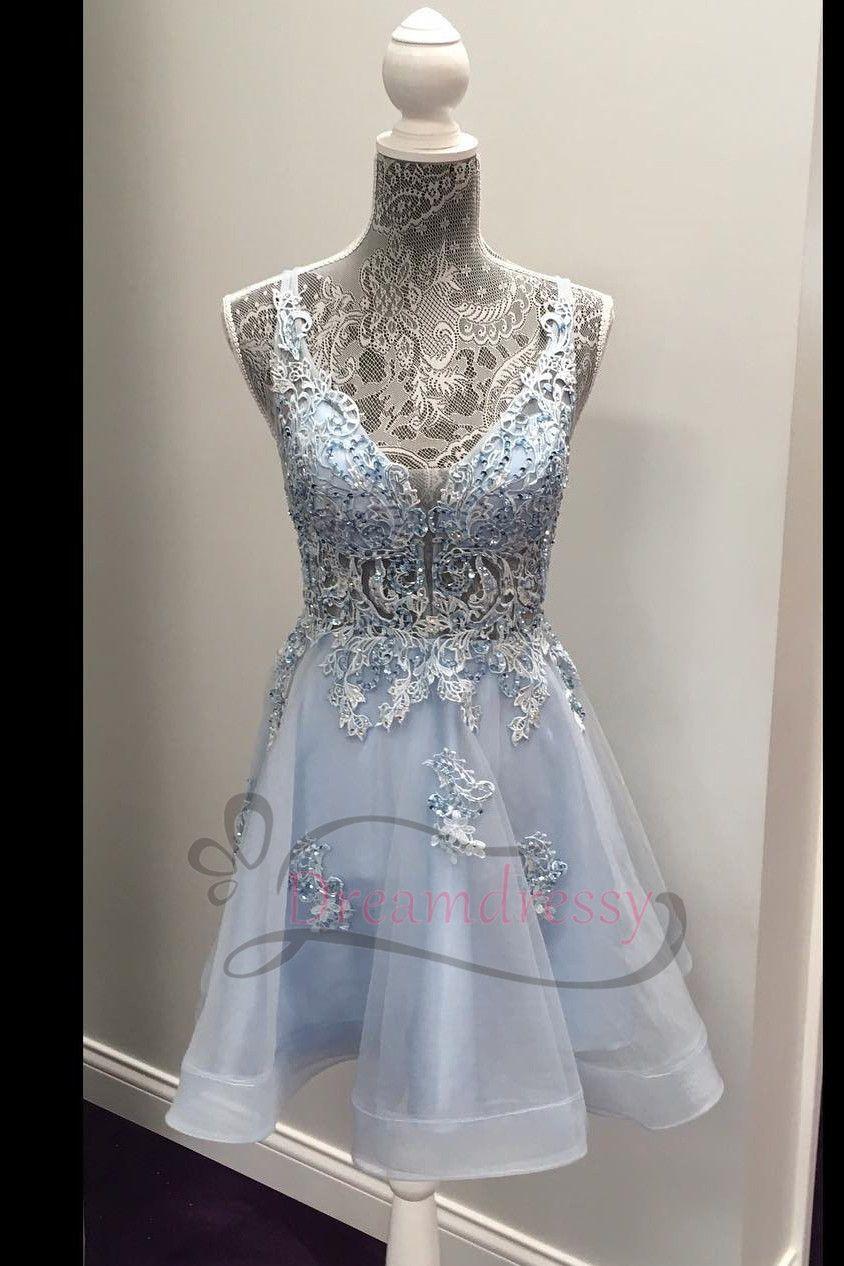 Princess v neck light sky blue short homecoming dress in