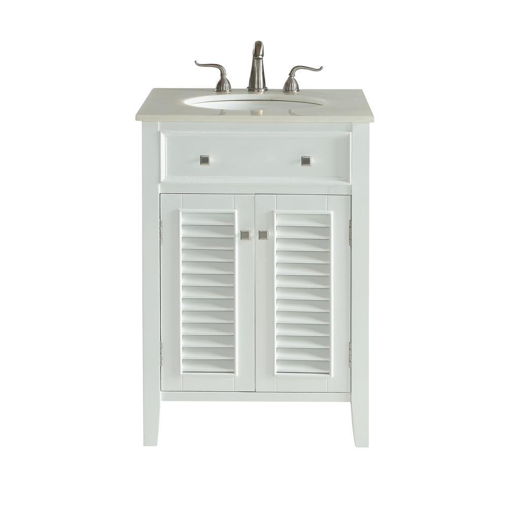 Bellaire 24 In Single Bathroom Vanity With 1 Shelf 2 Doors Marble