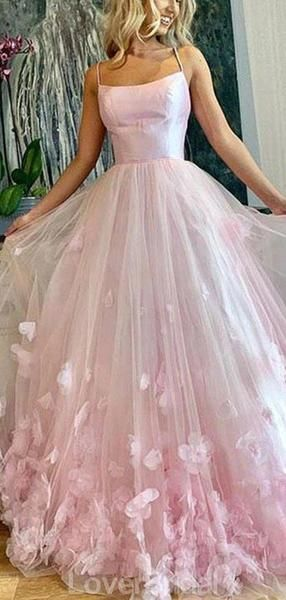 Spaghetti Straps Pink Handmade Flower Long Evening Prom Dresses, Evening Party Prom Dresses, 12161