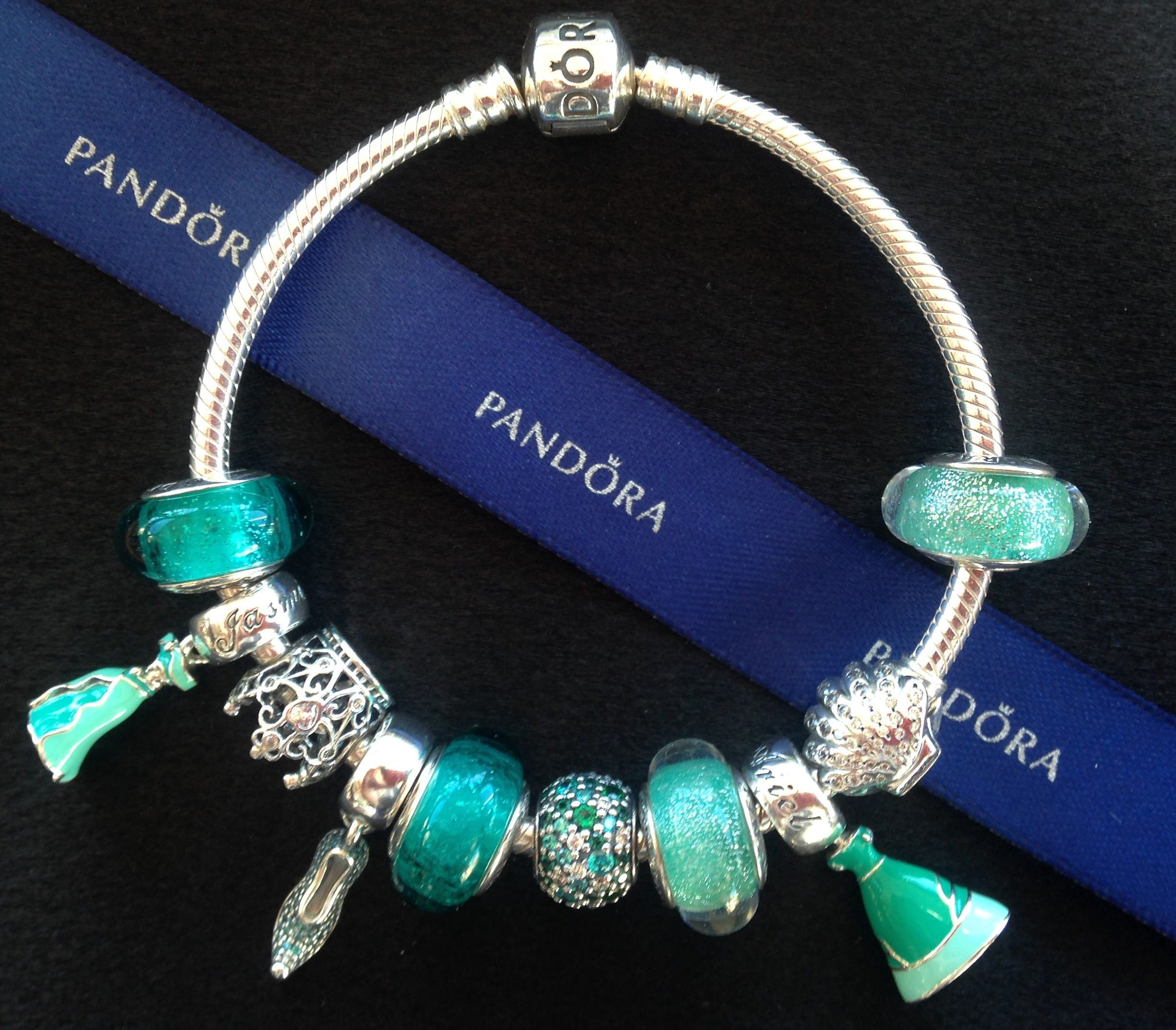 Pandora Disney Jasmine and Ariel charm bracelet