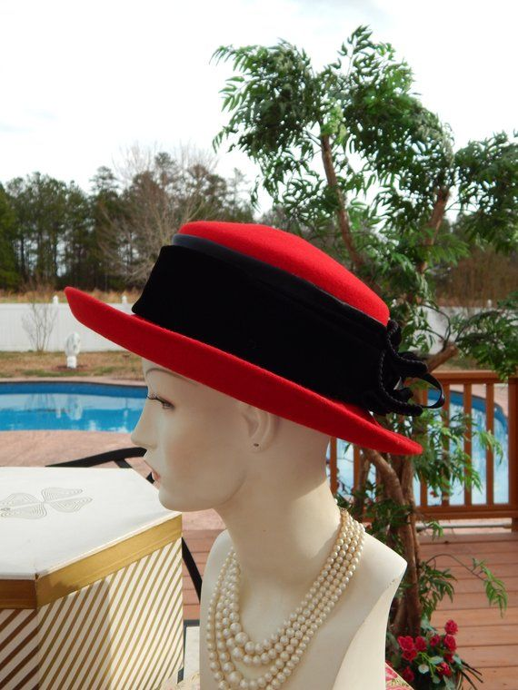abe370fdb41 Vintage Red Wool Hat Galliano Sorbatti Italy, Wide Brim Hat Wool Felt Red  with Black Bow, Red Hat, V