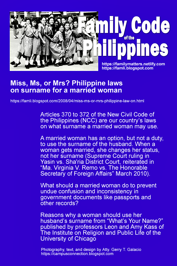 Miss Ms Or Mrs Philippine Laws On Surname For A Married Woman Married Woman Constitution Of The Philippines Miss And Ms