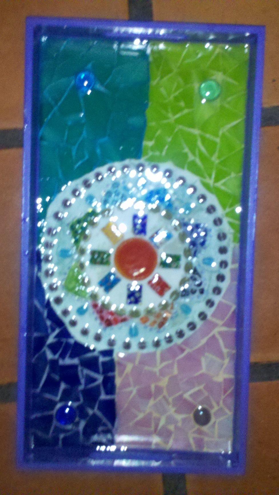 Bandeja rectangular mediana con mandala de vidrios