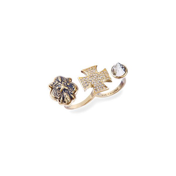 Open Star Two-Finger Ring ($48) ❤ liked on Polyvore featuring jewelry, rings, chloe + isabel, gold, spikes rings, spikes jewelry, lion head jewelry, crucifix jewelry and 2 finger rings