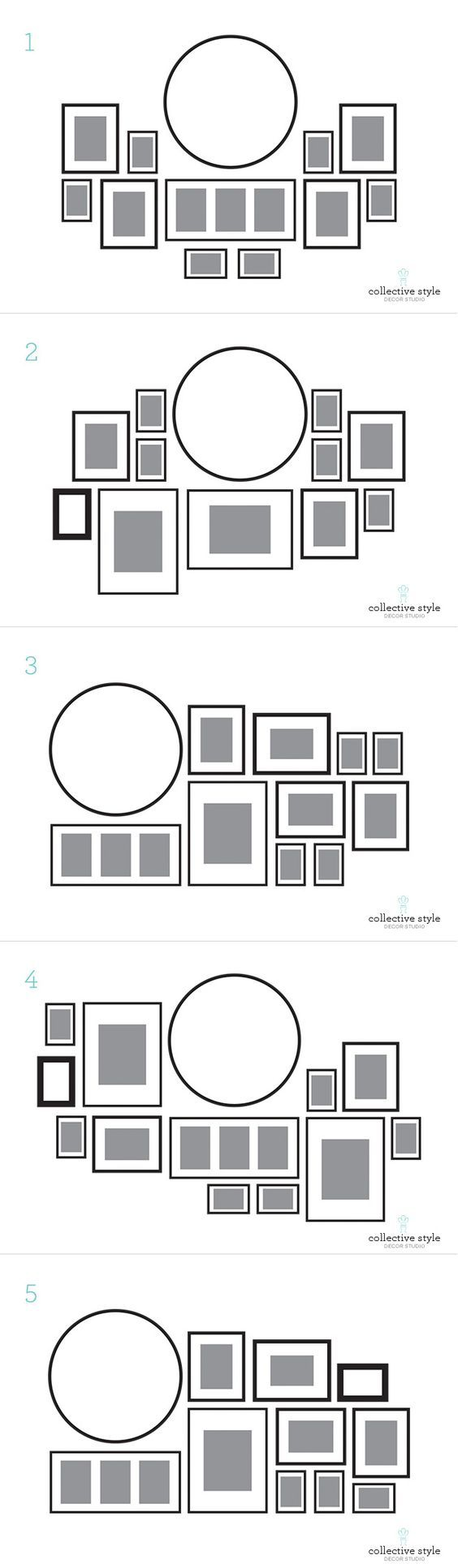 Layout for my gallery wall, I started with a large round clock.: