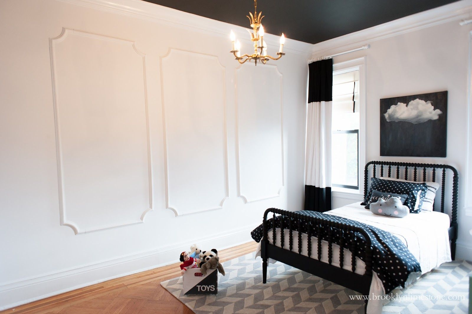 Black And White Little Big Girl Room Gets Trimmed Out In -1087
