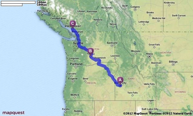 Driving Directions from Boise, Idaho to Vancouver, Canada