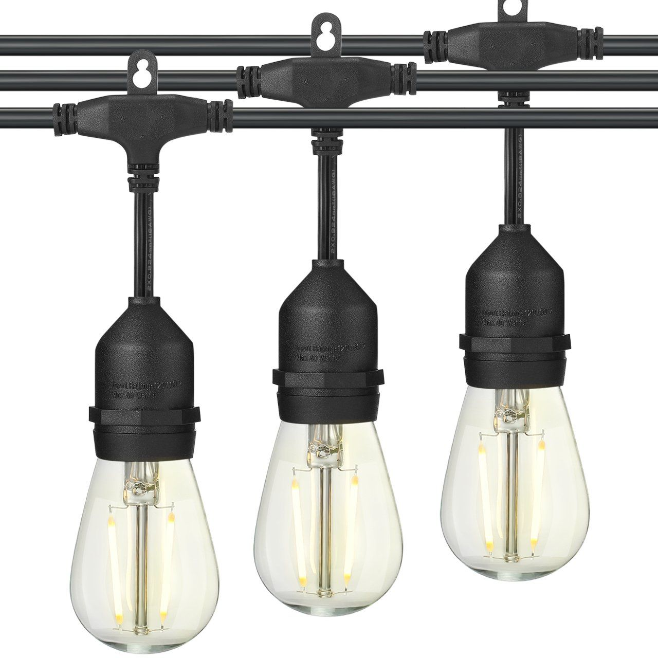 LED Outdoor String Lights E26 Dropped Sockets and Hanging Loops ...