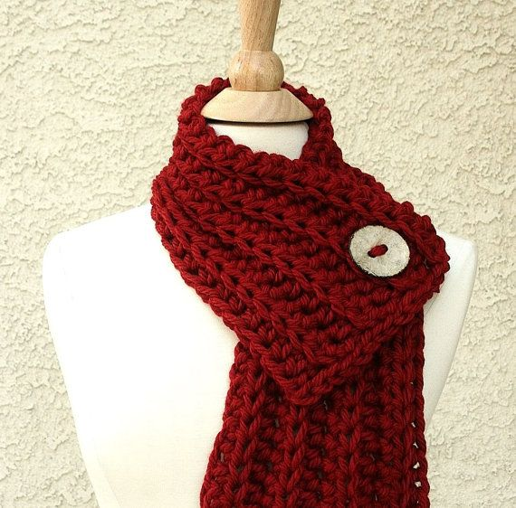 Photo of Items similar to WEST BAY SCARF  – Warm, soft & stylish scarf with large tan coconut button – Red on Etsy