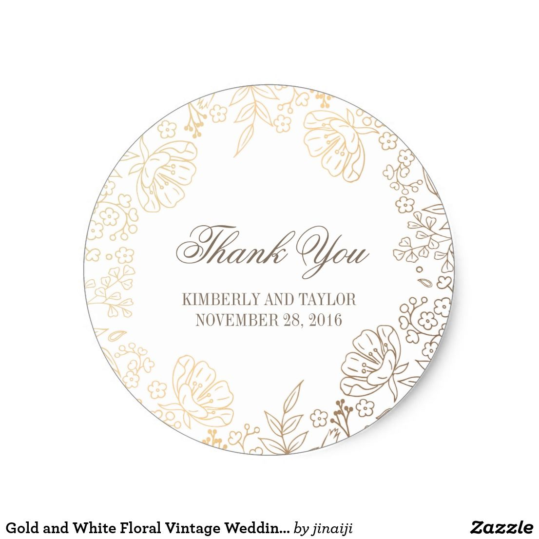 Gold and White Floral Vintage Wedding Thank You