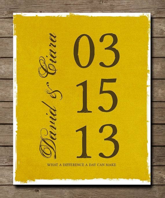 What a difference a day can make, Personalized Wedding DATE Art ...