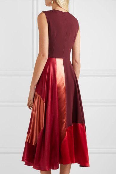 10b7167103bc Roksanda - Keanu Paneled Silk-blend Georgette Midi Dress - Burgundy ...