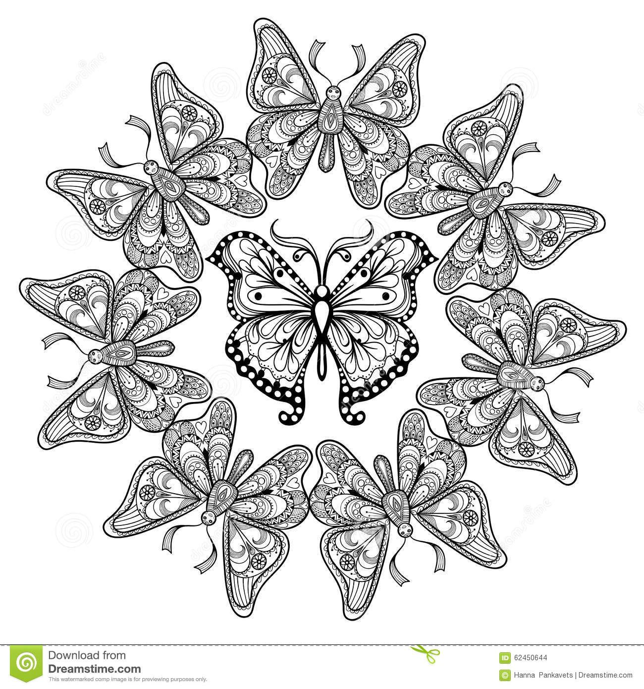 Coloring pages for adults zentangle - Zentangle Butterfly Coloring Pages For Adults