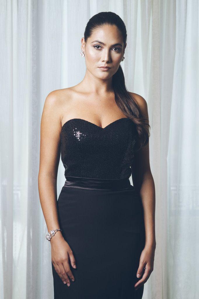Melanie 69500 Black Sequinned Bodice Chiffon Fishtail Skirt With